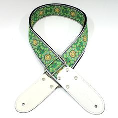 Strap for Godin SD DSL straps Jacquard Weaving Green/White