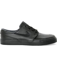 best website c504a 9aafc Nike SB Stefan Janoski Black   Anthracite Leather Skate Shoes   Zumiez