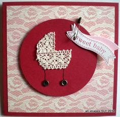 This handmade baby card idea has a vintage looking baby carriage cut from lace trim. Vintage trinkets provide the wheels and pin. Click for instructions.