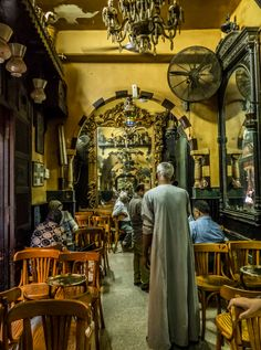 the famous Al-Fishawy Café, the oldest coffee house in Cairo.