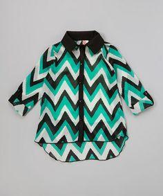 Look what I found on #zulily! Jade & Black Zigzag Button-Up #zulilyfinds 13.00