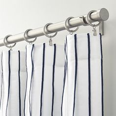 Kendal Blue Striped Curtains | Crate and Barrel