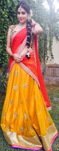 mango colored lehanga with red blouse Half Saree Lehenga, Red Saree, Half Saree Designs, Blouse Designs, Indian Dresses, Indian Outfits, Desiner Sarees, Red Color Combinations, Red Colour