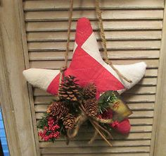 PRIMITIVE Christmas STAR handmade from ANTIQUE Nine Patch QUILT - Holiday Decor