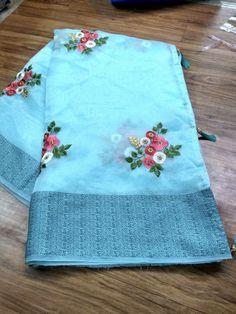 White linen with multi-colour embroidered sarees Floral Print Sarees, Saree Floral, Embroidery Saree, Embroidery Suits, Embroidery Designs, Designer Sarees Collection, Saree Collection, Organza Saree, Cotton Saree