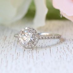 14K White Gold Moissanite The Classic Round Pave Halo Engagement Ring