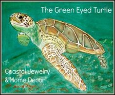 Beach Jewelry - Beach House Accents, The Green Eyed Turtle