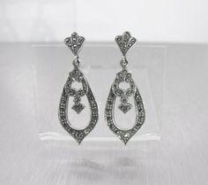 Sterling Marcasite Earrings Pierced Post by TonettesTreasures