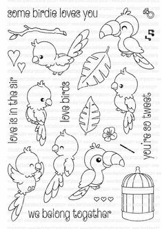 Ellen Hutson, LLC features Clearly Besotted Clear Stamps, Some Birdie Loves You. Doodle Drawings, Doodle Art, Cute Drawings, Embroidery Patterns, Hand Embroidery, Digital Stamps, Colouring Pages, Clear Stamps, Hand Lettering