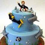 The groom who received this cake loves to scuba dive