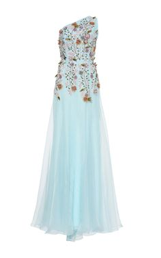 Embellished Floral One Shoulder Gown by ANDREW GN for Preorder on Moda Operandi
