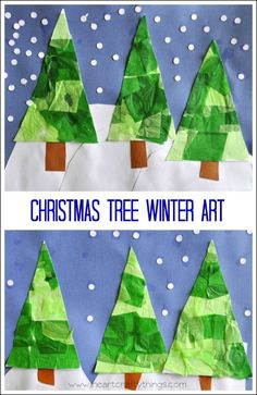 Christmas Tree Winter Art for Kids. Great craft for kids of all ages. From I Heart Crafty Things