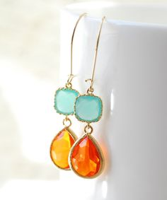 Summer Wedding Bridesmaid Gifts Bridal Jewelry Turquoise Orange Drop Earrings Dangle Earrings Jewelry Bridesmaid Set Limon Bijoux THIS ITEM IS Stylish Jewelry, Unique Jewelry, Jewelry Design, Jewelry Accessories, Wedding Gifts For Bridesmaids, Orange And Turquoise, Bridesmaid Earrings, Bridal Gifts, Bling Bling