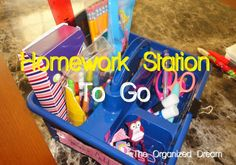 The Organized Dream: Organized Homework Caddy - To Go! Homework Caddy, Homework Organization, Homework Station, Organization Ideas, School Days, Dream Cars, Kids, Insight, Pretty
