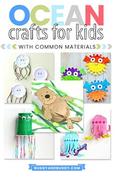 Use common materials from home like paper plates, paper bags, cups etc. to create all kinds of sea creatures and ocean animals like jellyfish, sea otters, octopus and more! Animal Activities For Kids, Animal Crafts For Kids, Animals For Kids, Toddler Activities, Toddler Themes, Ocean Activities, Creative Activities, Creative Kids, Summer Activities