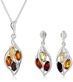 Sterling Silver Multi-Color Amber Dangle Earrings and Chain Pendant Necklace Jewelry Set, 18' >>> Read more at the image link. (This is an affiliate link and I receive a commission for the sales)