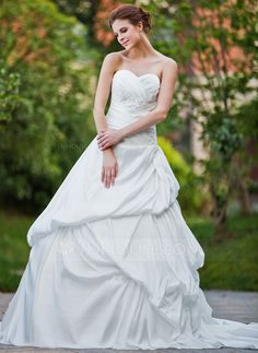 Wedding Dresses - $205.99 - Ball-Gown Sweetheart Cathedral Train Taffeta Wedding Dress With Ruffle Lace Beadwork (002001928) http://jjshouse.com/Ball-Gown-Sweetheart-Cathedral-Train-Taffeta-Wedding-Dress-With-Ruffle-Lace-Beadwork-002001928-g1928?ver=1