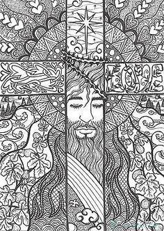 """Original zentangle Cross Drawing, not ACEO- """"Tangle In Love"""" by Jenny Luan Colouring Pages, Adult Coloring Pages, Coloring Books, Christian Symbols, Christian Art, Cross Drawing, Cross Art, Bible Art, Colorful Pictures"""