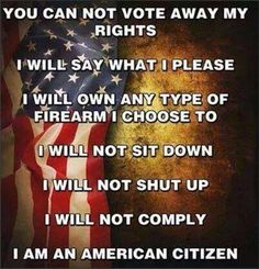 You can not vote away my rights. I will say what I please. I will own any type of firearm I choose to. I will not sit down. I will not shut up. I will not comply. I AM AN AMERICAN CITIZEN.