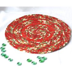 Holiday Decoration, Red Floral Place Mat, Handmade Christmas Hot Pad,... ($15) ❤ liked on Polyvore featuring home, home decor and holiday decorations