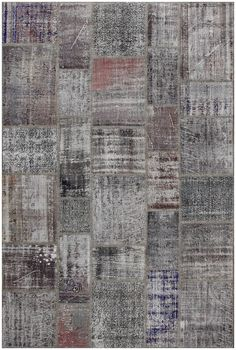 Vintage Patchwork Overdyed Gray Wool Rug 19014 6.8x10