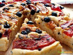 Focaccia brioche sfiziosa olive e peperoni gratinati  #ricette #food #recipes