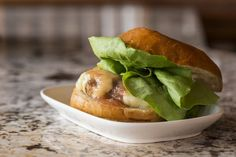 Ground Chicken Burger with Cheddar and Rhubarb Jam | Mushrooms On The Menu | Mushrooms at Foodservice  #MightyMushrooms