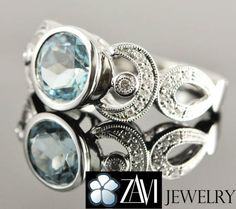 4.5ct Round-Faceted Sky Blue Topaz and Diamond Ring in Solid 18K White Gold