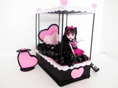 ▶ How to make a Draculaura Doll Bed Tutorial/ Monster High - YouTube
