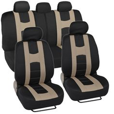 Rome Sport Seat Covers for Car SUV - Sporty Racing Style Stripes Black & Beige