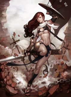 Female warrior wearing very little. #sword #shield #woman #warrior #arrowbait