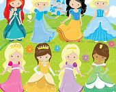 80% OFF SALE Fairytale princess clipart for scrapbooking, princesses commercial use, vector graphics, digital clip art, images, party prince
