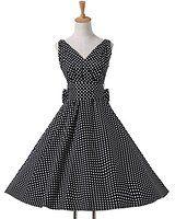 Grace Karin Women's Polka Dots Vintage Deep V-neck Rockabilly Dress with Bow