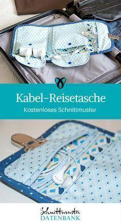 Kabel-Reisetasche Schnittmuster kostenlos / Tasche für Ladekabel gratis Anleitung