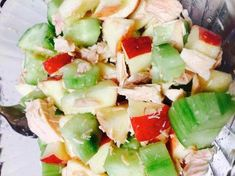 Need an easy lunch but still lo-cal? tuna, cucumber, and apple salad. Add pink salt and your ready to go! #nutrimost #nutrimostrochester