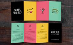 Addicted - Serafini Creative More -- Product Brochure Design Ideas & Templates Pamplet Design, Page Design, Layout Design, Print Design, Design System, Graphic Design Brochure, Brochure Layout, Creative Brochure Design, Template Brochure