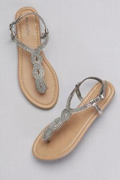 baa41593179f0 Crystal-Studded Scalloped Metallic T-Strap Sandals