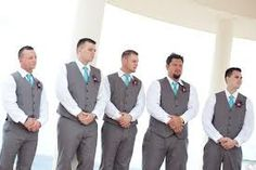 groomsmen attire, except lime green instead of the blue