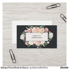 Shop Antique Floral Blush & Charcoal Business Card created by RedwoodAndVine. Square Business Cards, Business Cards Layout, Letterpress Business Cards, Free Business Card Templates, Business Card Design, Watercolor Business Cards, Photographer Business Cards, Hairstylist Business Cards, Minimalist Business Cards