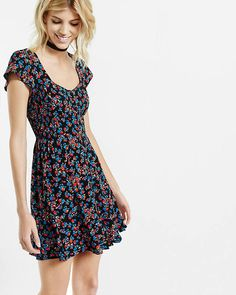 Floral Print Smocked Button Front Dress | Express