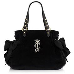 JUICY COUTURE HIGH DRAMA VELOUR MS DAYDREAMER BAG PURSE BLACK YHRU2845 NWT $188 #JuicyCouture #Satchel