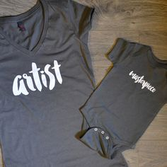 Artist + Masterpiece T-shirt Package  This listing includes two items -- one womens v-neck cotton t-shirt, and one baby body suit or toddler
