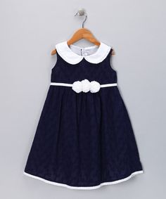 Take a look at this Navy Rosette A-Line Dress - Infant & Toddler by Fantaisie Kids on #zulily today!