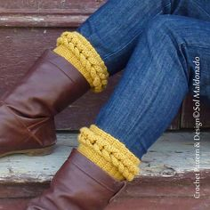 crochet cable Boot toppers Crochet PDF Pattern - Braided Leg socks, boot…