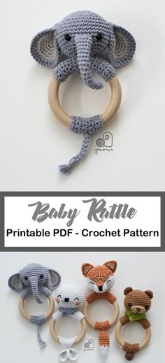 Make one of these adorable animal rattle teethers there is a fox seal elephant or bear pattern baby rattle crochet patterns cute gifts a more crafty life crochet crochetpattern babygift baby diy crochet baby moccasins Crochet Baby Toys, Crochet Diy, Crochet Baby Girls, Diy Crochet Animals, Crochet Bear, Handgemachtes Baby, Crochet Mignon, Cute Baby Gifts, Baby Rattle