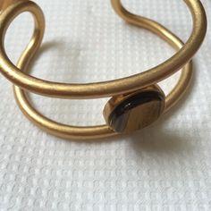 Madewell Tiger's Eye Brass Cuff v good quality, heavy brass, sits well partway up arm Madewell Jewelry Bracelets