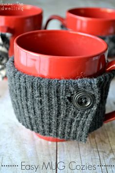Easy Mug Cozies made from a recycled sweater