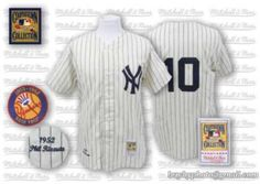 4727cd71d55 Mitchelland Ness Yankees #10 Phil Rizzuto Embroidered White Throwback MLB  Jersey