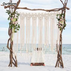 OurWarm Boho Wedding Backdrop Party Photo Booth Macrame Cotton Rope Tassel Curtain for Home Room Wall Hanging Decoration Packing list: macrame wedding backdrop Color: Beige Size: Material: cotton rope Application: Boho Wedding , home room decoration Diy Outdoor Weddings, Outdoor Wedding Decorations, Beach Weddings, Ceremony Decorations, Beach Decorations, Garden Decorations, Indian Weddings, Destination Weddings, Boho Wedding