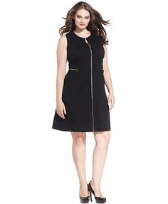 Calvin Klein Plus Size Dress, Sleeveless Zip-Front A-Line~Available at Macy's